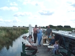 Lunch on a mooring pontoon.