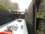 Graham shinning up the lock ladder